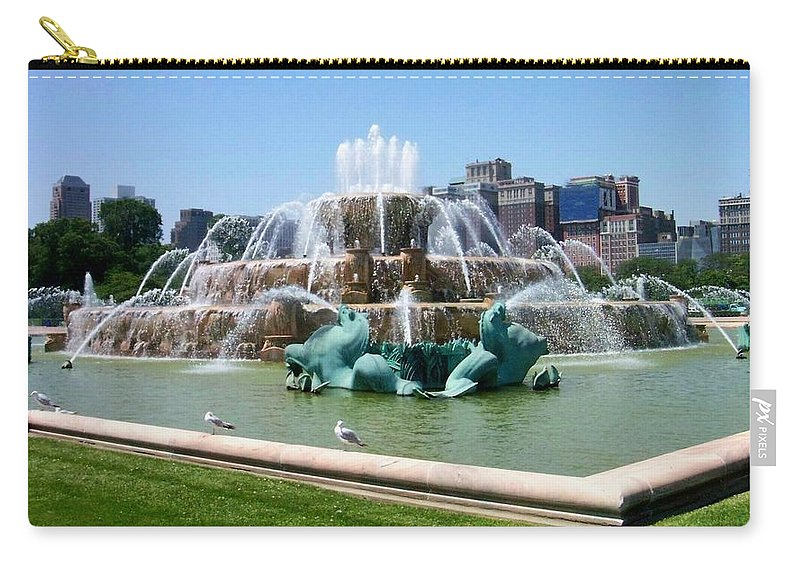 Chicago Carry-all Pouch featuring the photograph Buckingham Fountain by Anita Burgermeister