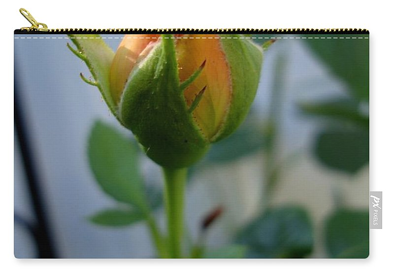 Rose Carry-all Pouch featuring the photograph Bud Of A Rose by Michiale Schneider