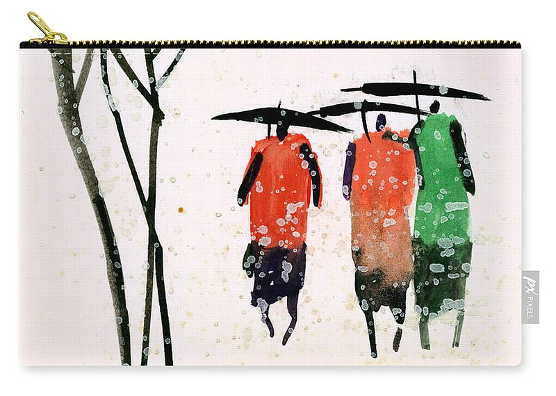 People Carry-all Pouch featuring the painting Buddies 3 by Anil Nene