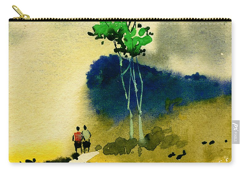 Landscape Carry-all Pouch featuring the painting Buddies by Anil Nene
