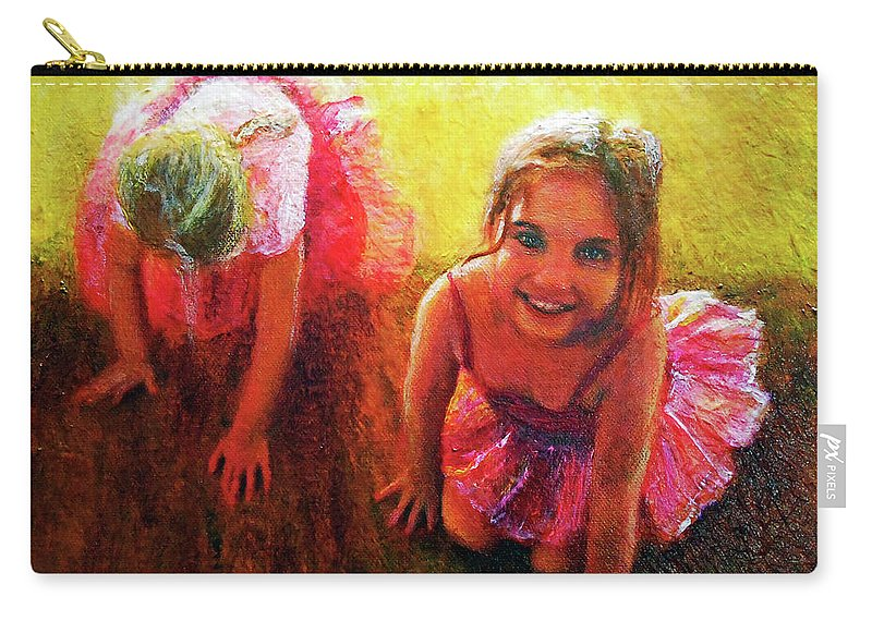 Ballerina Carry-all Pouch featuring the painting Budding Ballerinas by Michael Durst