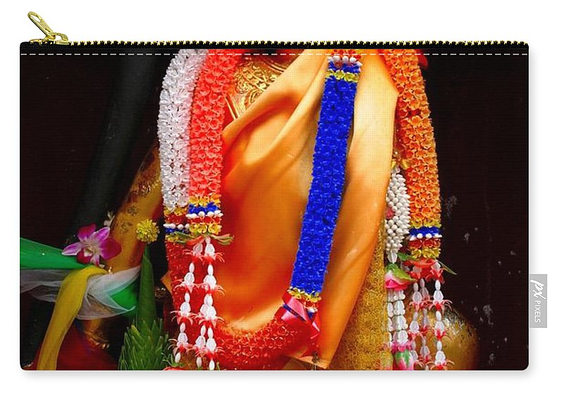 Buddism Carry-all Pouch featuring the photograph Buddism And Pepsi Shrine by Minaz Jantz