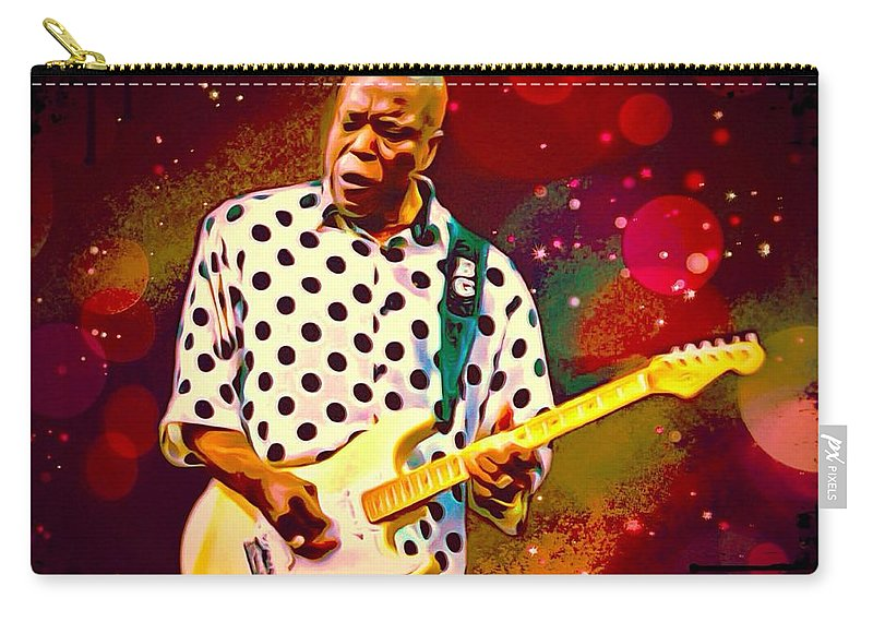George uddy Guy Carry-all Pouch featuring the digital art Buddy Guy Portrait by Scott Wallace Digital Designs