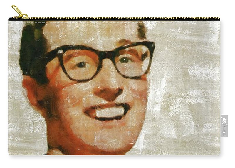 Buddy Carry-all Pouch featuring the painting Buddy Holly By Mary Bassett by Mary Bassett