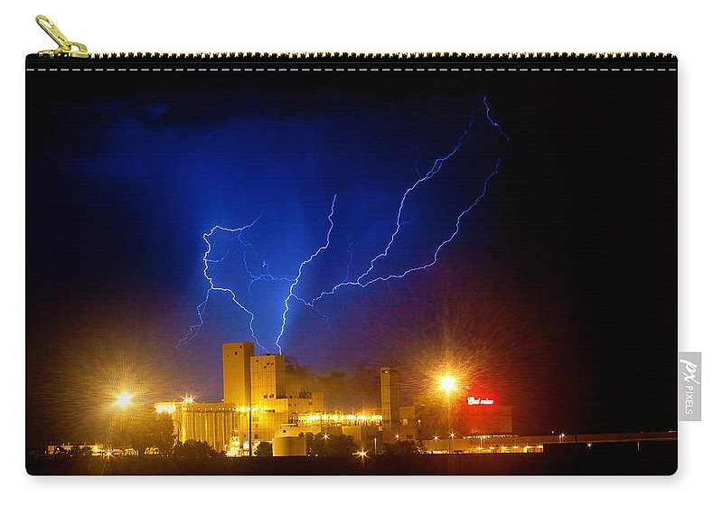 Anheuser-busch Carry-all Pouch featuring the photograph Budweiser Powered By Lightning by James BO Insogna