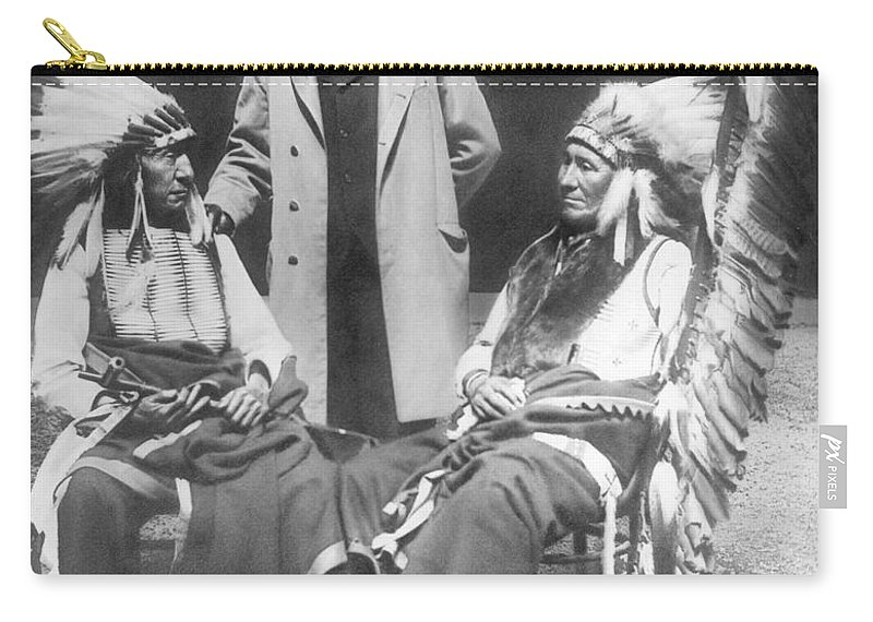 Buffalo Bill Carry-all Pouch featuring the photograph Buffalo Bill With Red Cloud And American Horse by David Frances Barry