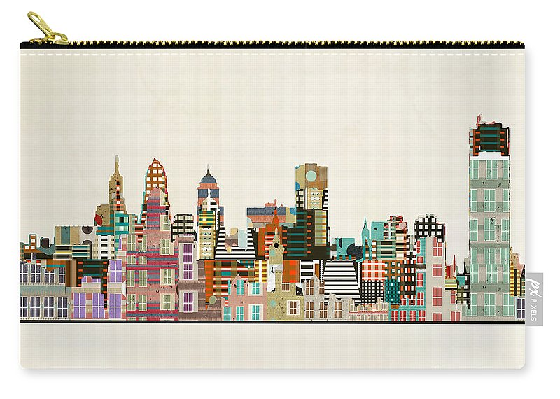 Buffalo City Carry-all Pouch featuring the painting Buffalo City New York by Bri Buckley