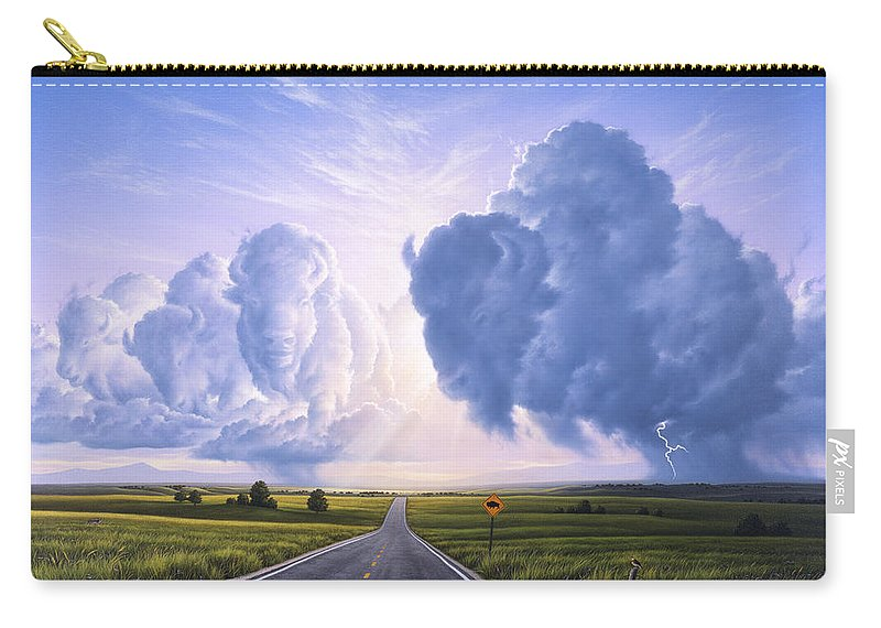 Buffalo Carry-all Pouch featuring the painting Buffalo Crossing by Jerry LoFaro