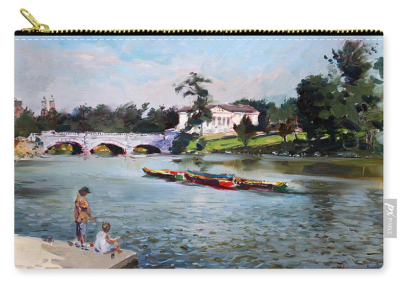 Landscape Carry-all Pouch featuring the painting Buffalo Fishing Day by Ylli Haruni