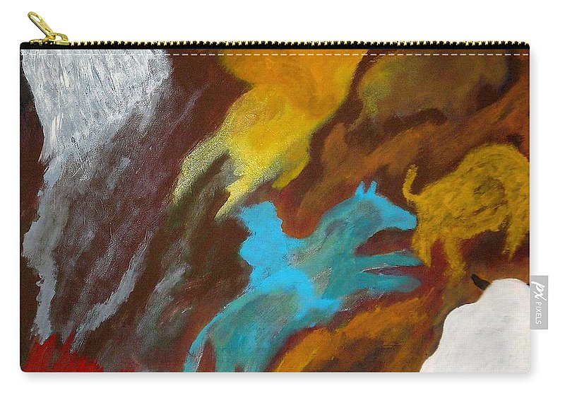 Buffalo Carry-all Pouch featuring the painting Buffalo Hunt -021 by Will Logan