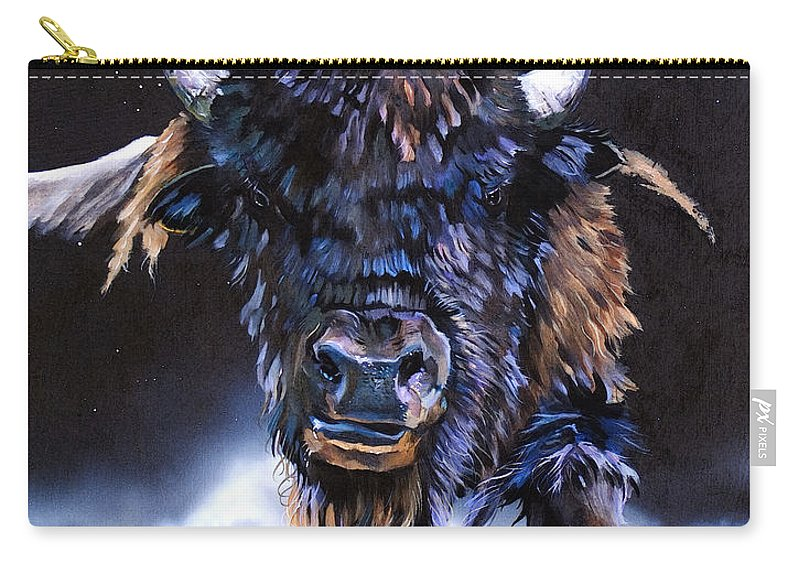 Buffalo Carry-all Pouch featuring the painting Buffalo Medicine by J W Baker