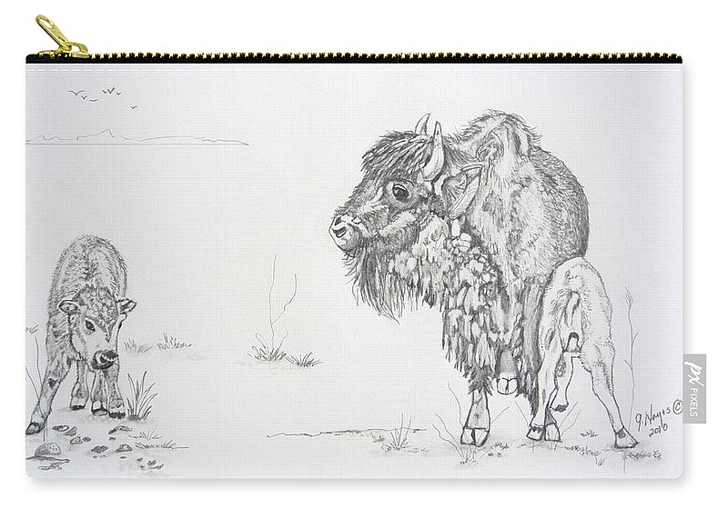 Buffalo Carry-all Pouch featuring the drawing Buffalo Mom And Calves by Gregory Hayes