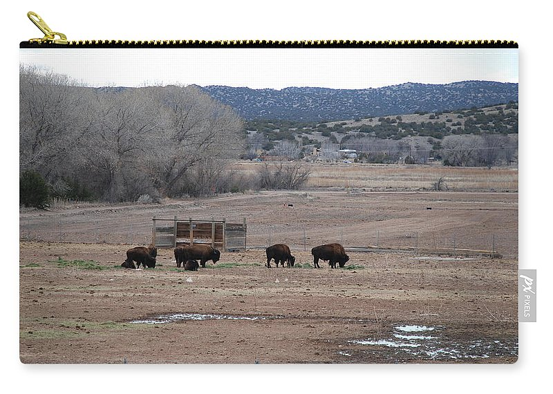 Buffalo Carry-all Pouch featuring the photograph Buffalo New Mexico by Rob Hans
