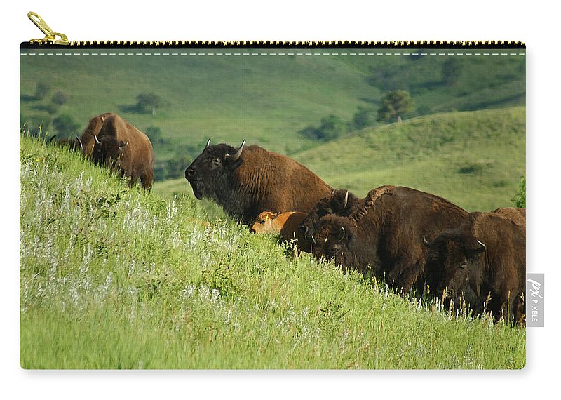 Animals Carry-all Pouch featuring the mixed media Buffalo On Hillside by Ernie Echols