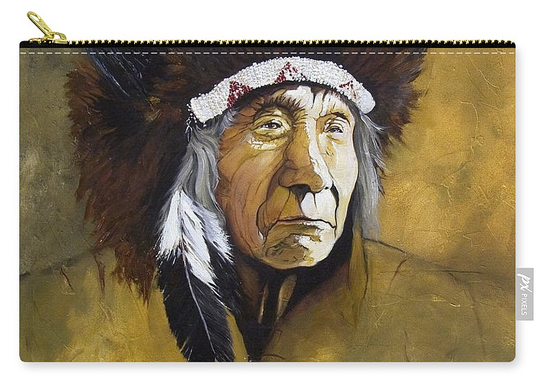 Shaman Carry-all Pouch featuring the painting Buffalo Shaman by J W Baker