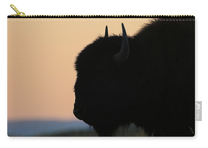 Carry-all Pouch featuring the photograph Buffalo Silhouette by Zach Rockvam