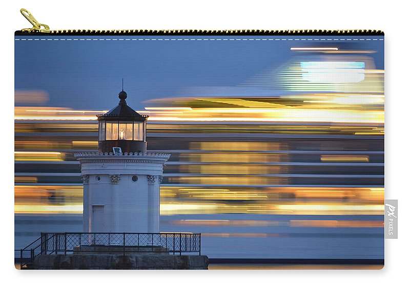 Bug Light Lighthouse Carry-all Pouch featuring the photograph Bug Light Cruise Ship by Colleen Phaedra