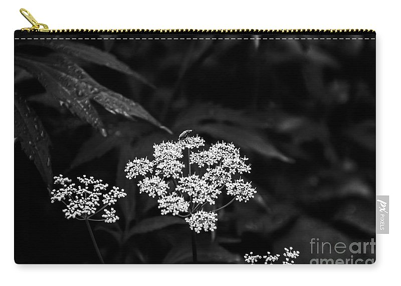 Bug Carry-all Pouch featuring the photograph Bug On Flowers Black And White by Marina McLain