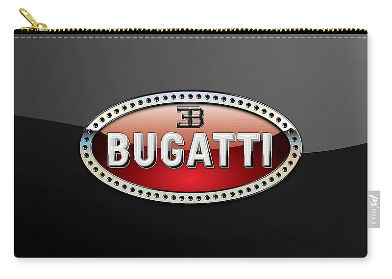 �wheels Of Fortune� Collection By Serge Averbukh Carry-all Pouch featuring the photograph Bugatti - 3 D Badge on Black by Serge Averbukh
