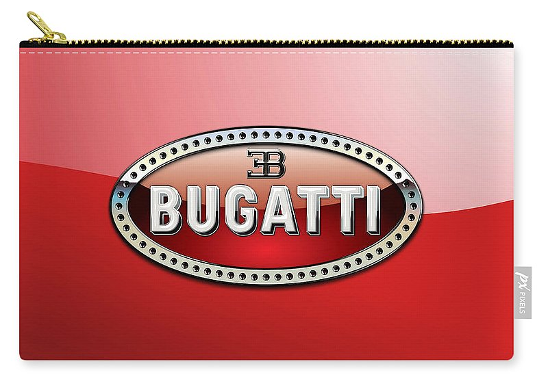 �wheels Of Fortune� Collection By Serge Averbukh Carry-all Pouch featuring the photograph Bugatti - 3 D Badge on Red by Serge Averbukh