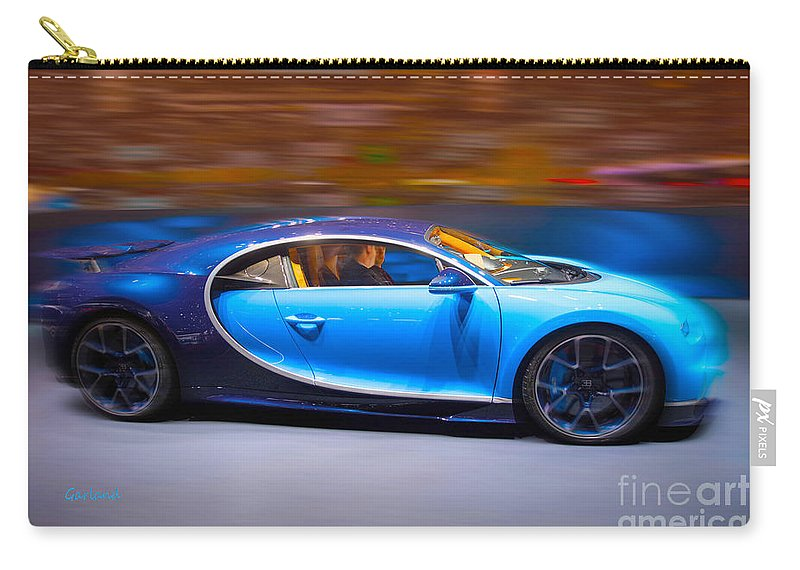 Car Carry-all Pouch featuring the mixed media Bugatti Chiron 3 by Garland Johnson