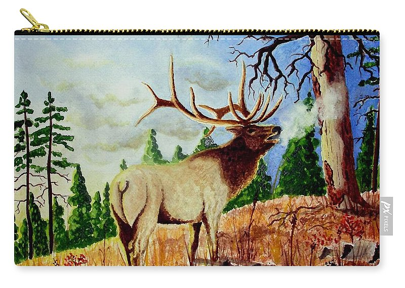 Antlers Carry-all Pouch featuring the painting Bugling Elk by Jimmy Smith