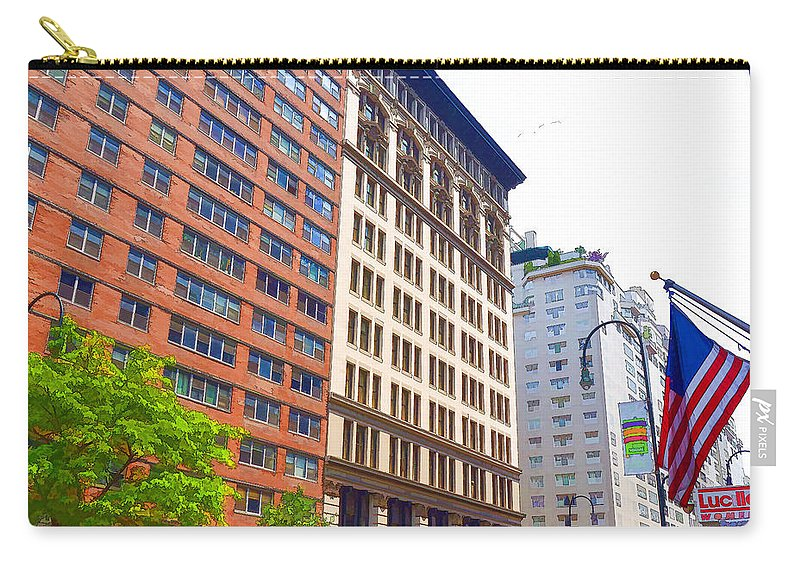 Abstract Carry-all Pouch featuring the painting Building Closeup In Manhattan 5 by Jeelan Clark