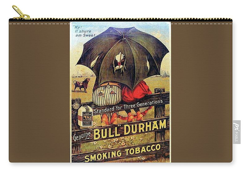 Black Americana Carry-all Pouch featuring the digital art Bull Durham Smoking Tobacco by ReInVintaged