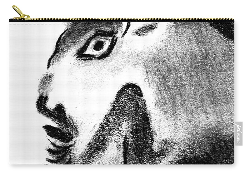 Bull Carry-all Pouch featuring the drawing Bull by Michal Boubin