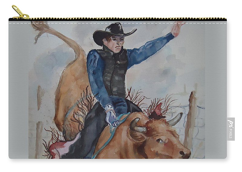 Ride'm Cowboy! Bull Rider Carry-all Pouch featuring the painting Bull Rider by Charme Curtin