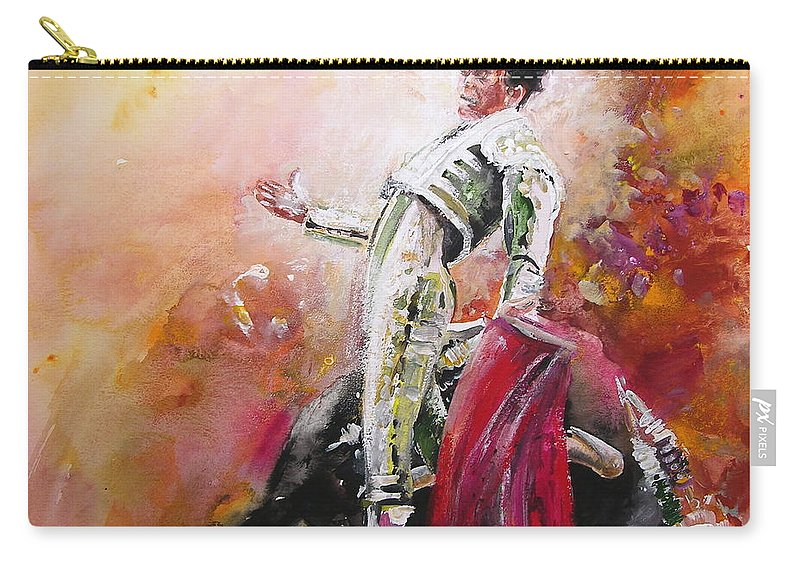 Animals Carry-all Pouch featuring the painting Bullfight 24 by Miki De Goodaboom