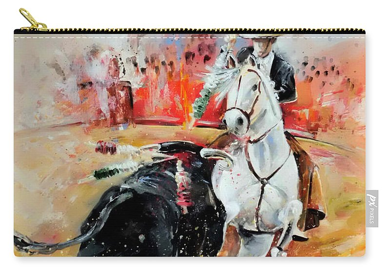 Toros Carry-all Pouch featuring the painting Bullfight 3 by Miki De Goodaboom