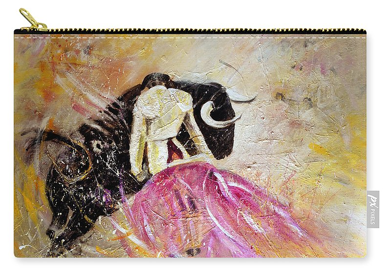 Animals Carry-all Pouch featuring the painting Bullfight 74 by Miki De Goodaboom