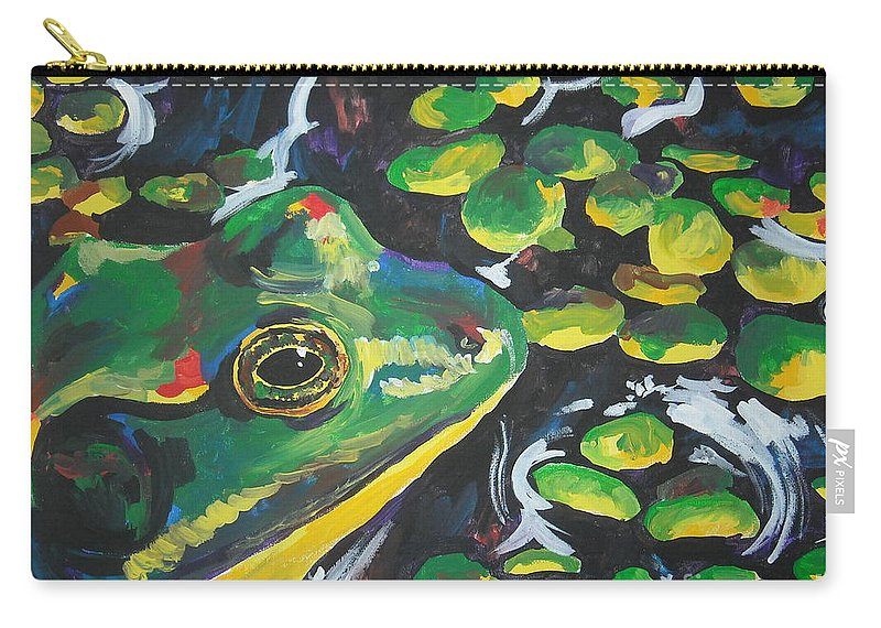 Bullfrog Carry-all Pouch featuring the painting Bullfrog by Caroline Davis