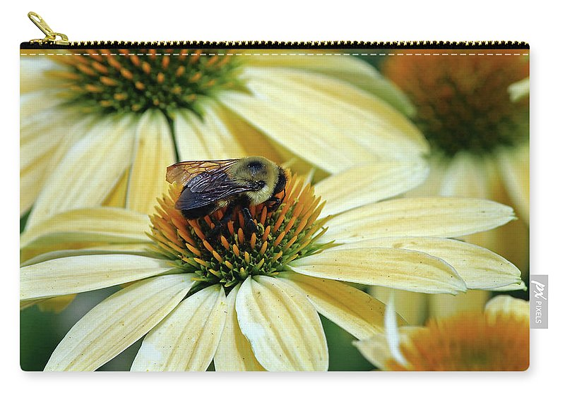 Flowers Carry-all Pouch featuring the photograph Bumble Bee At Work by Steve Gass