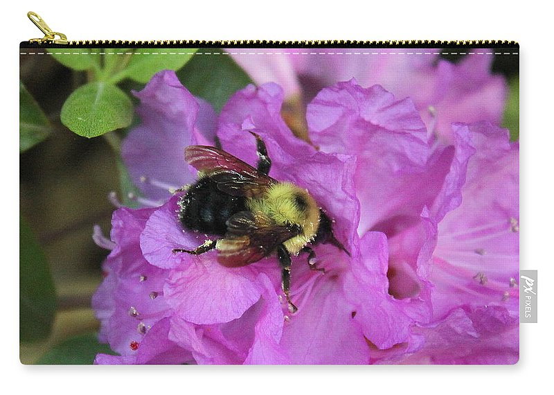Bumble Bee Carry-all Pouch featuring the photograph Bumble Bee On Rhododendron Blossoms by Anita Hiltz