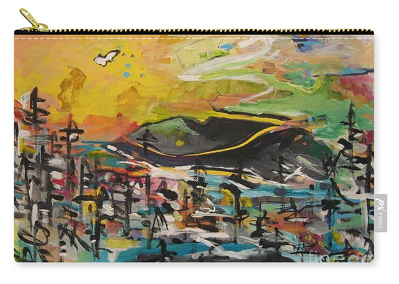 Abstract Paintings Carry-all Pouch featuring the painting Bummer Flat2 by Seon-Jeong Kim