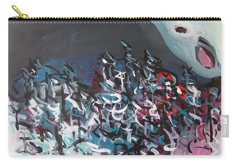 Abstract Paintings Carry-all Pouch featuring the painting Bummer Flat7 by Seon-Jeong Kim