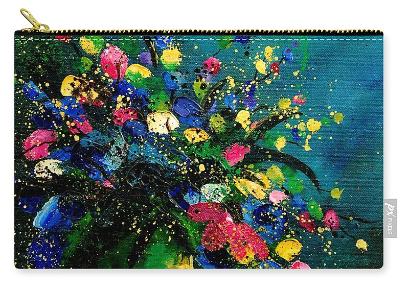 Flowers Carry-all Pouch featuring the painting Bunch 0807 by Pol Ledent
