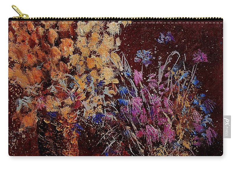 Flowers Carry-all Pouch featuring the painting Bunch Of Dried Flowers by Pol Ledent