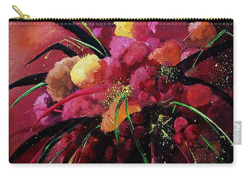 Flowers Carry-all Pouch featuring the painting Bunch Of Red Flowers by Pol Ledent