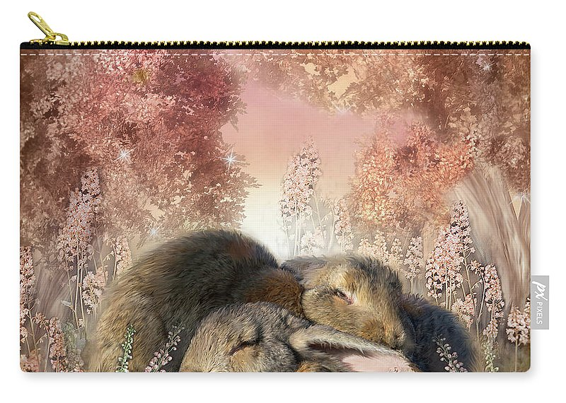 Bunny Art Carry-all Pouch featuring the mixed media Bunny Dreams by Carol Cavalaris