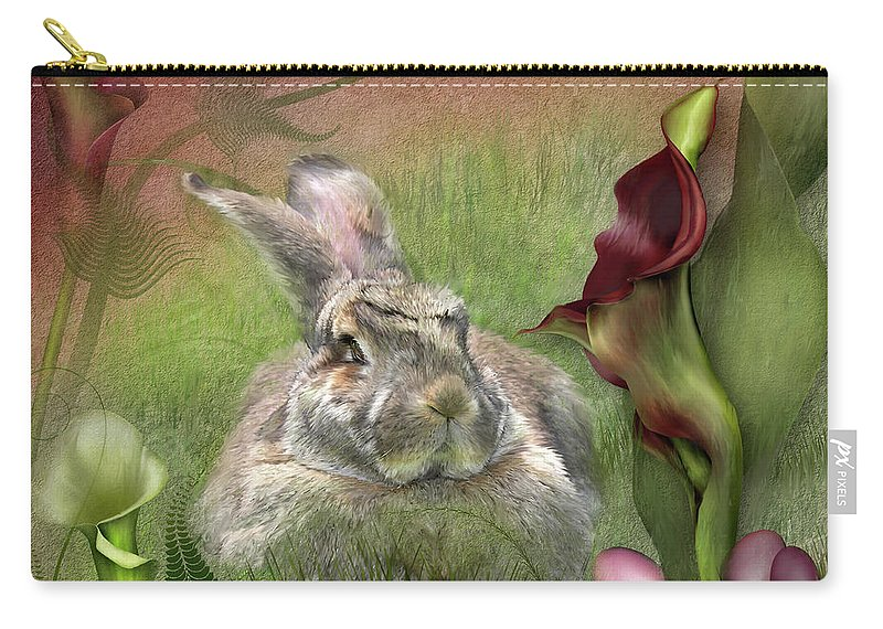 Bunny Carry-all Pouch featuring the mixed media Bunny In The Lilies by Carol Cavalaris