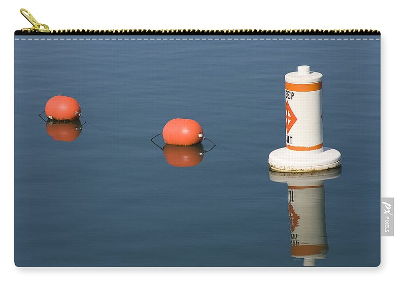 Chicago Windy City Buoy Water Lake Michigan Blue Reflection Mirror Orange Carry-all Pouch featuring the photograph Buoy by Andrei Shliakhau