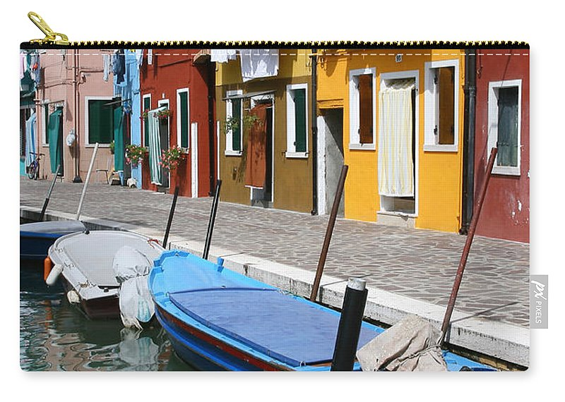 Burano Carry-all Pouch featuring the photograph Burano Corner With Laundry by Donna Corless