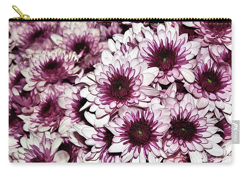 Photography Carry-all Pouch featuring the photograph Burgundy White Crysanthemums by Kaye Menner
