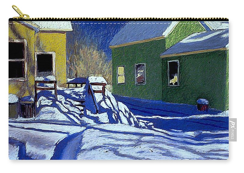 Landscape Carry-all Pouch featuring the painting Buried Backyard by Mary McInnis