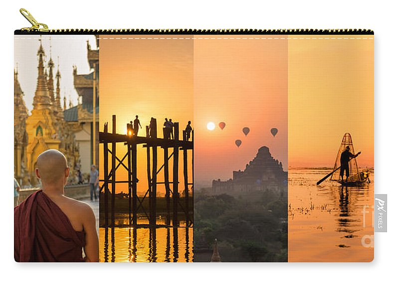 Burma Carry-all Pouch featuring the photograph Burma Collage by Louise Poggianti