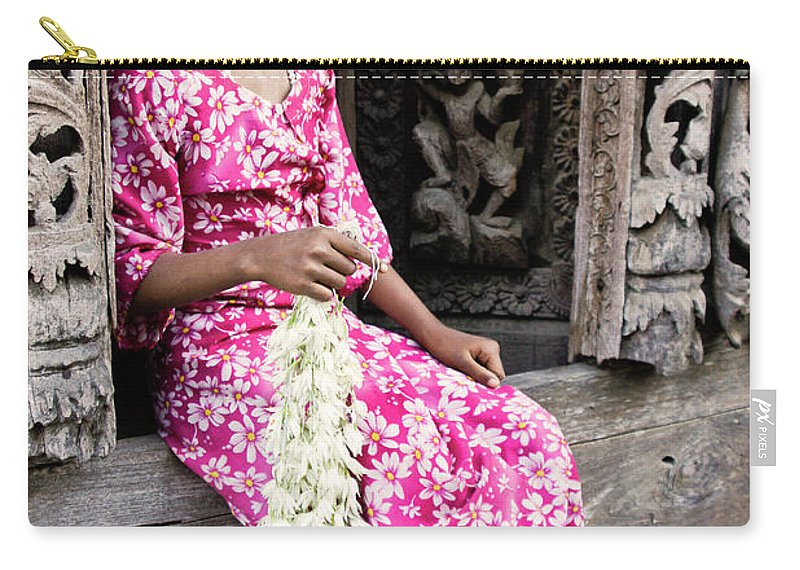 075burma's Golden Pagodaasia Carry-all Pouch featuring the photograph Burmese Flower Vendor by Michele Burgess