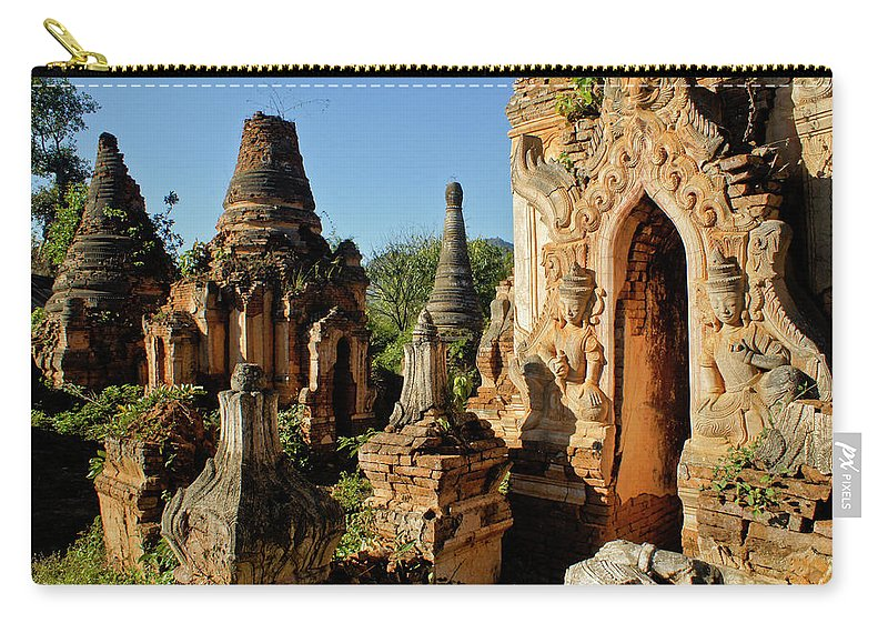 Asia Carry-all Pouch featuring the photograph Burmese Pagodas In Ruins by Michele Burgess